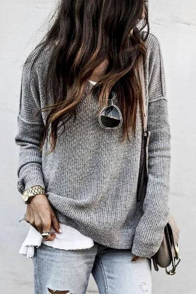 Grey Knitted Loose Fit Casual Sweater