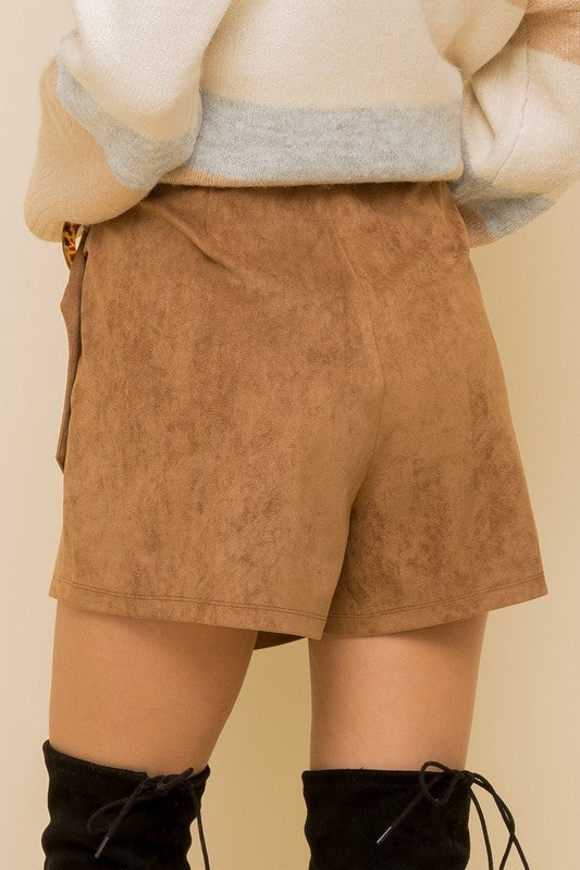 Camel Suede Wrap Skort with Tortoise Buckle