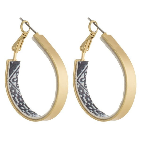 Teardrop Hoop With Geo Pattern Earrings