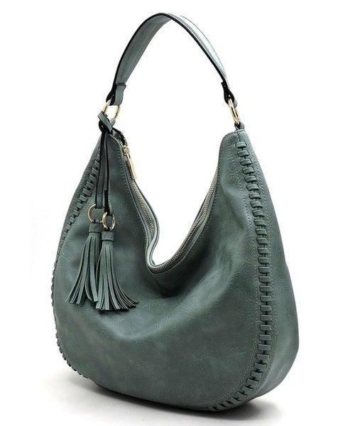 Whipstitch Hobo Shoulder Bag