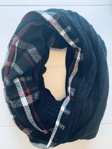 Black Knit With Plaid Infinity Scarf
