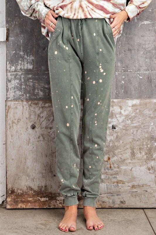 Juniper Green Splitter Splatter Jogger Sweats