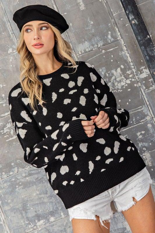 Animal Print Crew Neck Sweater