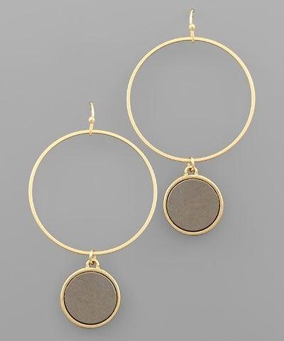 Wood Disc & Circle Earrings