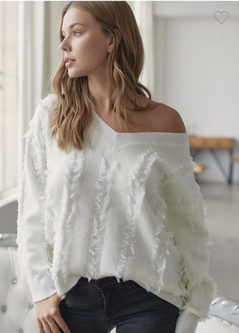 Winter White Fringe Sweater