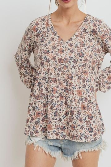 Floral Printed Thermo V Neck Long Sleeve Top