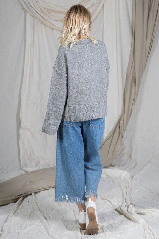 Heather Grey Ribbed Trim Sweater