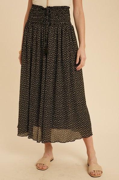Floral Print Smocked Skirt