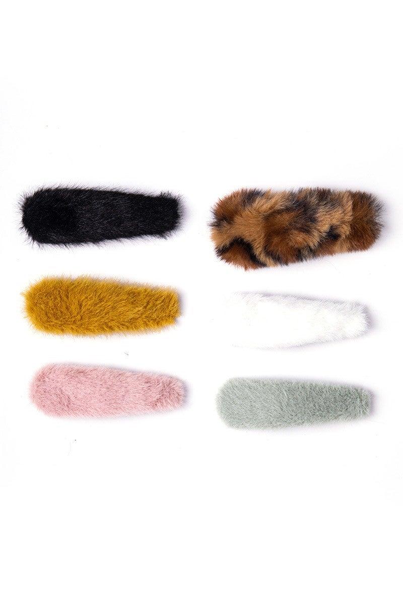 Faux Fur Hair Clips Set