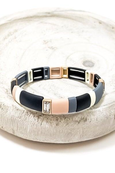 CZ/Black & Tan Stretch Tile Bracelet