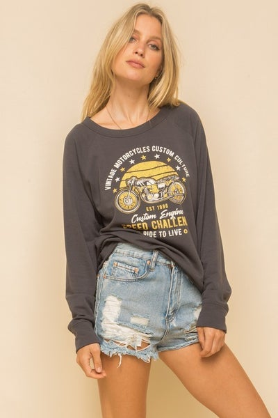 Motorcycle Print Fleece Sweatshirt