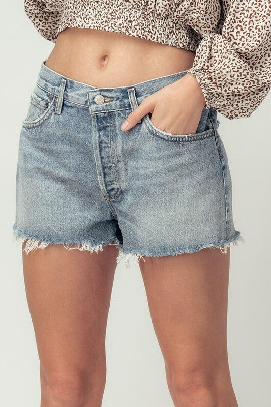 Denim Washed Rawhem Shorts