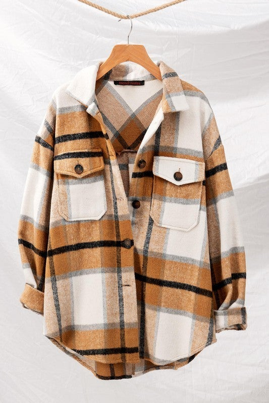 Brown Checkered Oversized Button Down Jacket