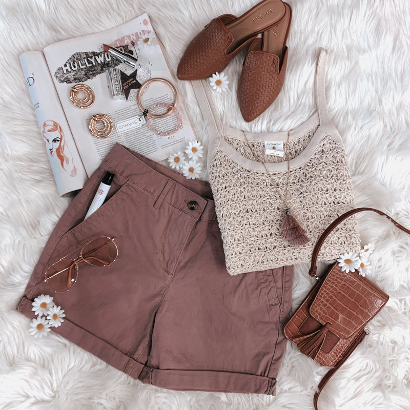 Maroon Mid Rise Shorts *Final Sale*