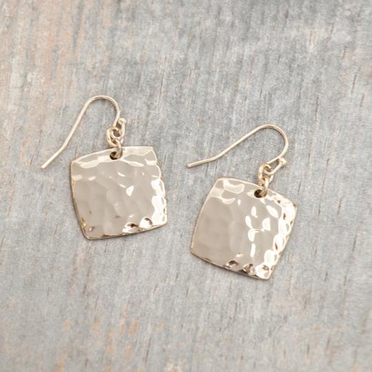 Square Hammered Metal Earrings