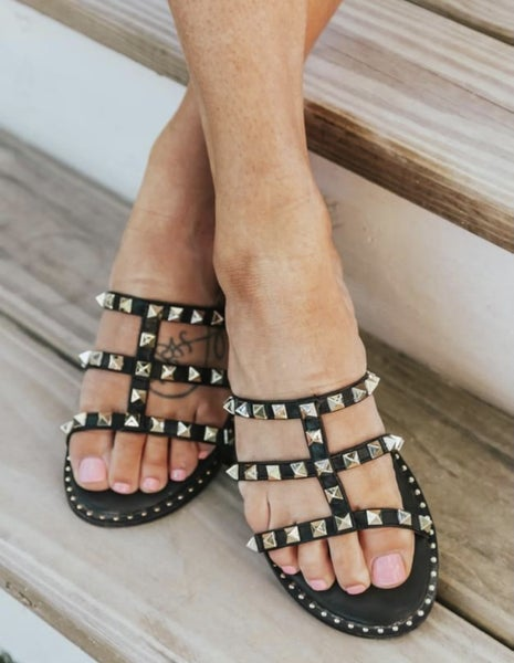Studded Black Sandal