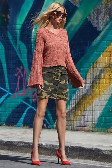 Button -Down Cargo Camo Skirt