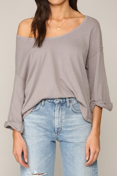 Grey Half Sleeve Scoop Neck Garment Dye Top