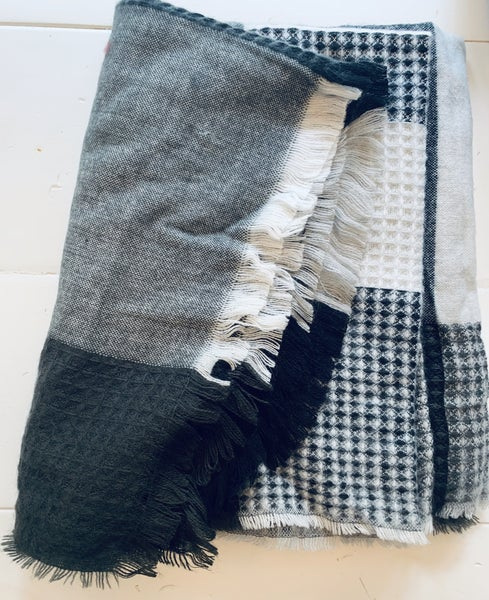 Charcoal Grey Patchwork Scarf