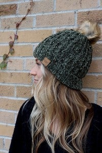 Olive Cable Knit Chenille Hat
