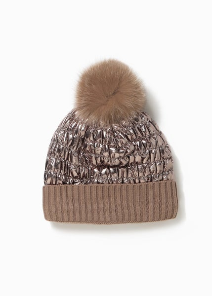 Taupe Shiny Puffer Pom Pom Hat