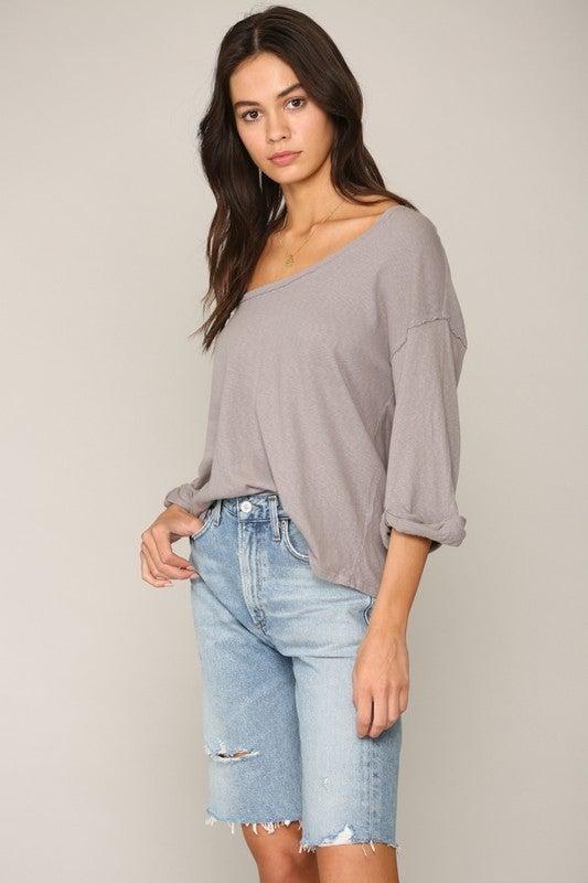 Grey Half Sleeve Scoop Neck Garment Dye Top