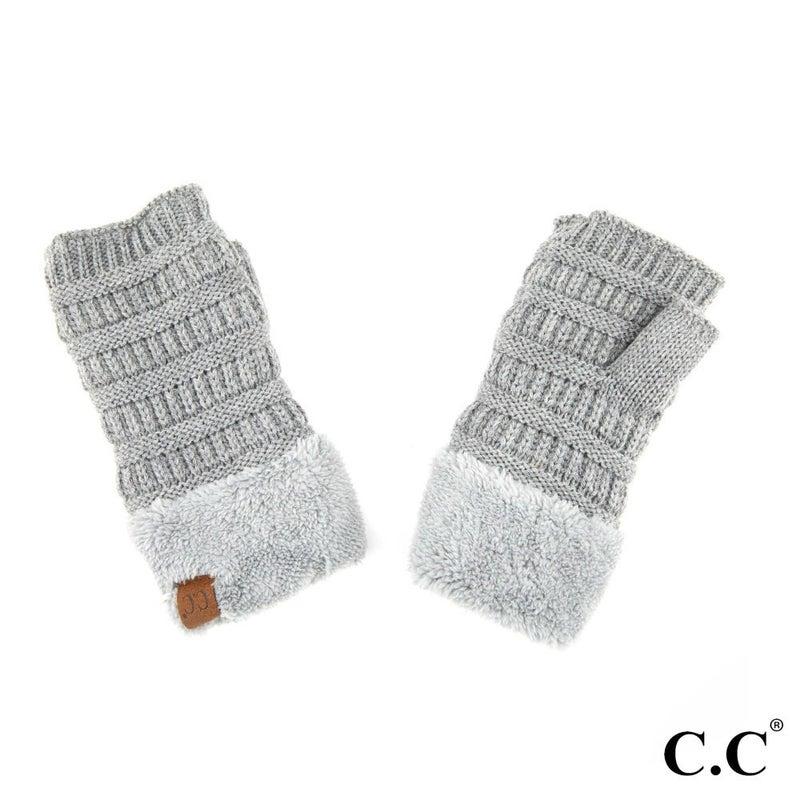 Light Grey Shearling Fingerless Gloves