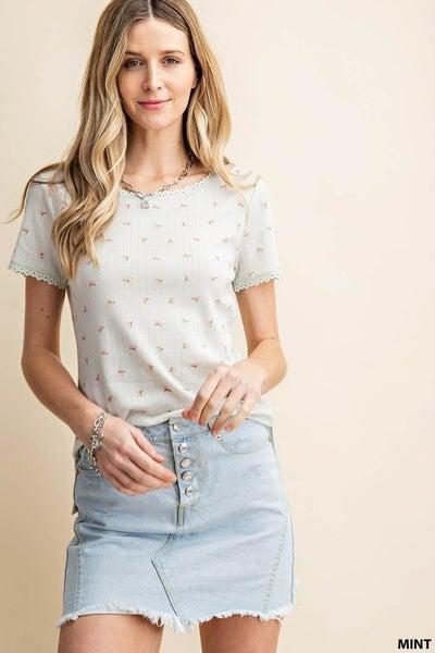 White Edge Lace Cotton Print T-Shirt