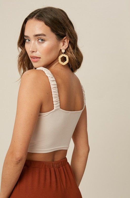 Rib Ruched Crop Top