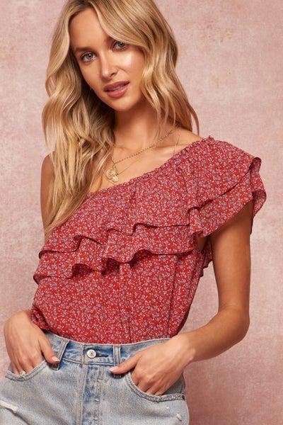 Floral Print One Shoulder Bodysuit