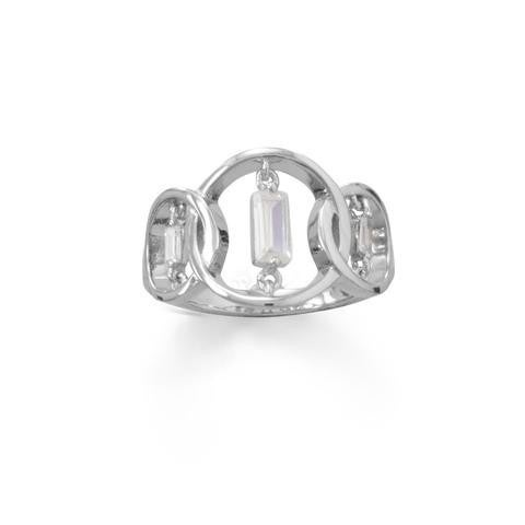 Rhodium Plated Triple Circle Suspension CZ Ring - Size 7