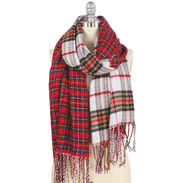 Double Plaid Mix Oblong Scarf with Fringe Tassels