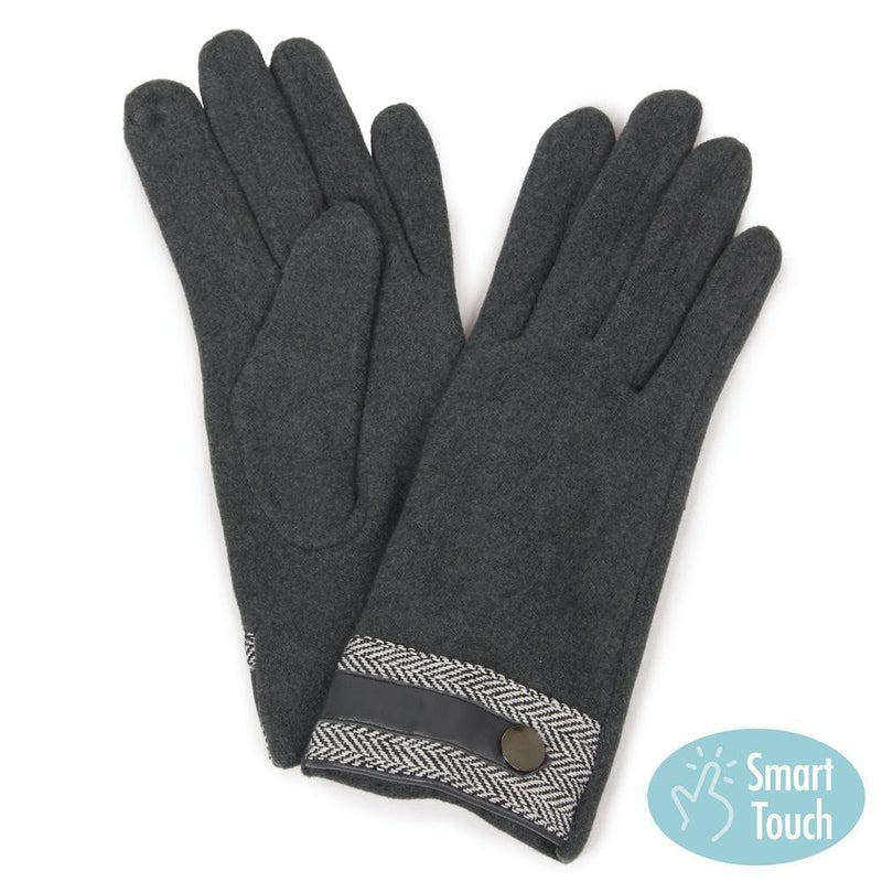 Wool Smart Touch Gloves with Herringbone Band