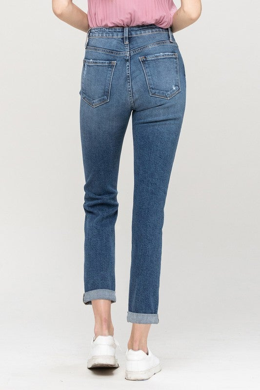 Flying Monkey Distressed Roll Up Boyfriend Jean