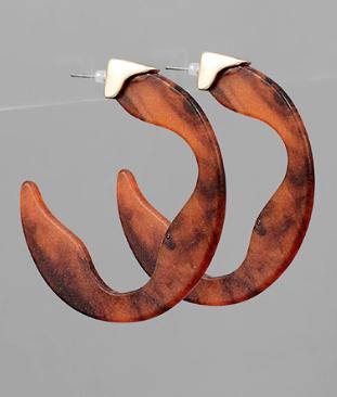Wavy Acrylic Open Hoop Earrings