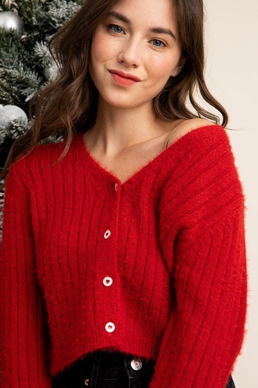Julie Heart Button Ribbed Cardigan
