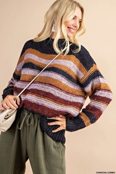 Shine Multi Color Stripe Sweater