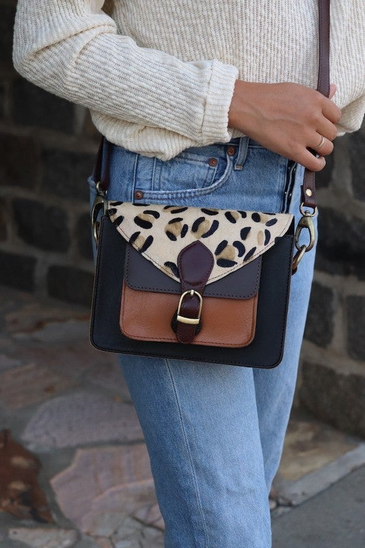 Leopard and Leather Crossbody *Final Sale*