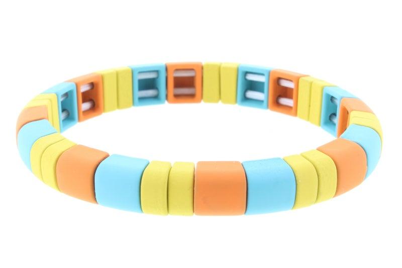 Rounded Rectangle Metal Shape Stretch Bracelet *Final Sale*