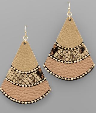 Multi Leather Fan Earrings