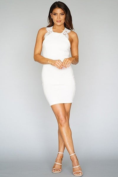 Lace Trim Sleeveless Bodycon Dress