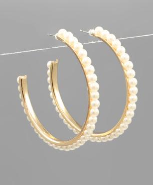 Pearl Trim Hoop Earrings