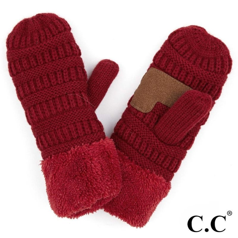 Ribbed Knit Mitten with Fleece Cuff