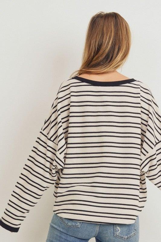 Ivory/Black Round Neck Stripe Top