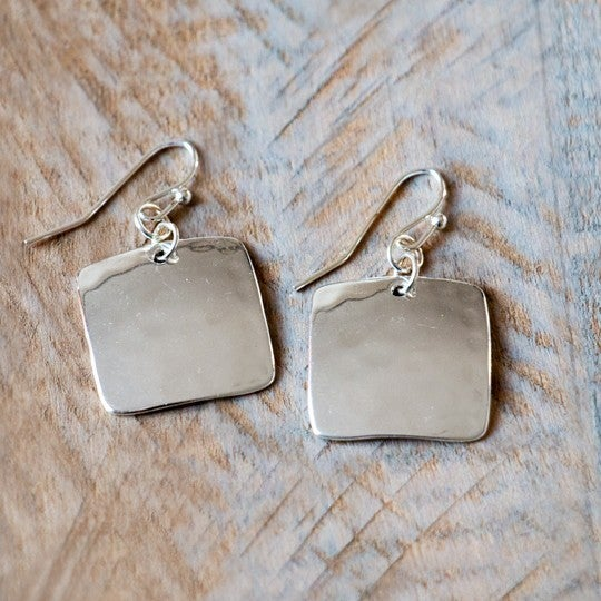 Square Hammered Metal Earrings