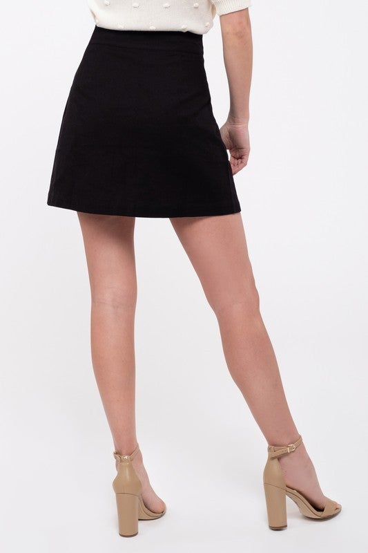 Black Button-Front Skirt
