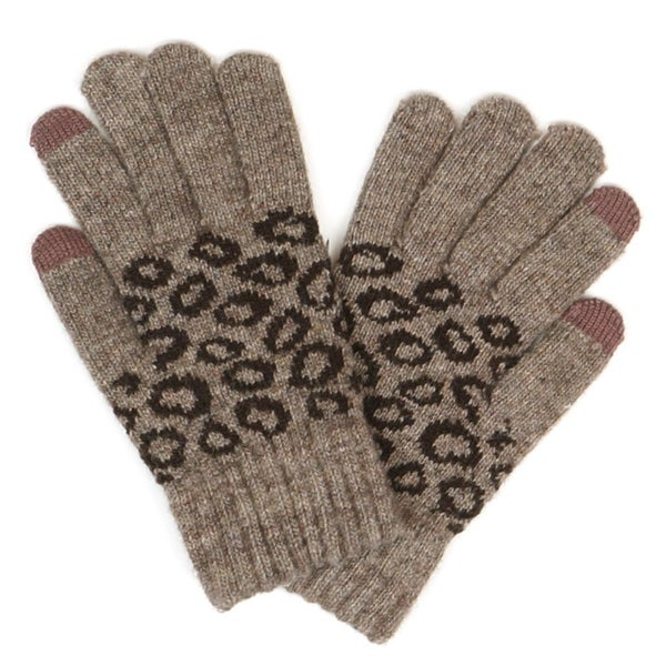 Leopard Print Knit Smart Touch Gloves