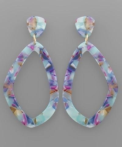 Blue/Multi Acrylic Uneven Rhombus Earrings