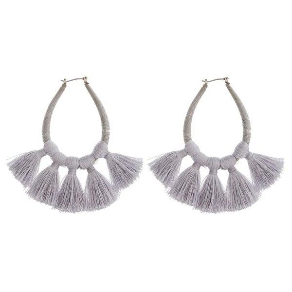 Thread Wrapped Teardrop Fan Earrings
