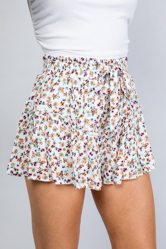 Printed Ruffle Tie Shorts